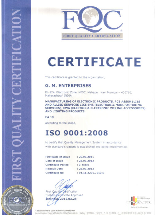 Certificate, G  M  Enterprises is an ISO 9001:2008 Certified Company